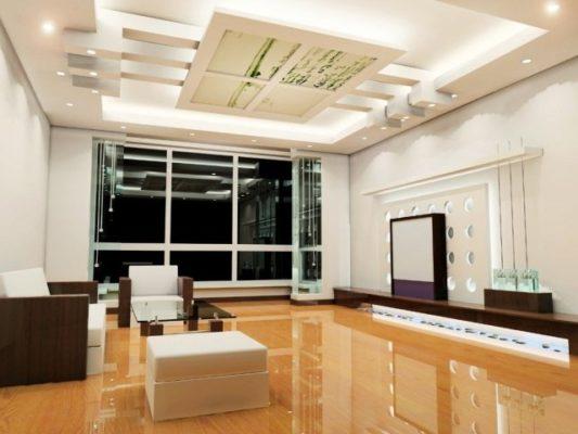 éclairage-salon-idée-originale-spots-encastres-plafond-luminaire-indirec...